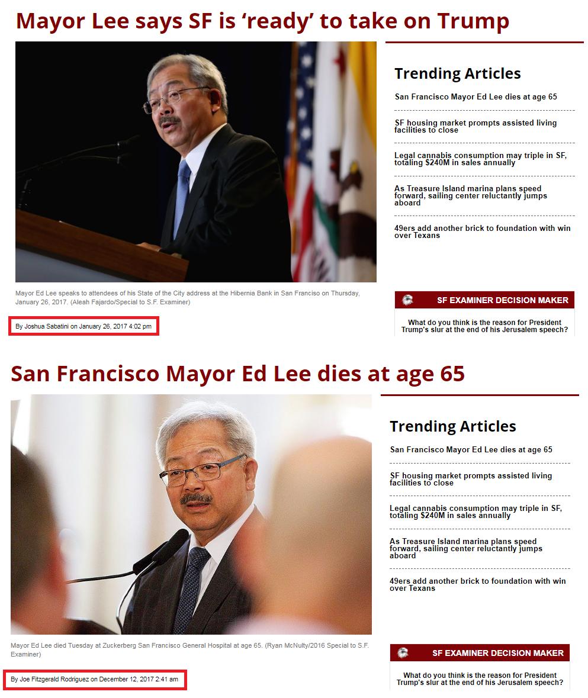 San Francisco Mayor Ed Lee Dead